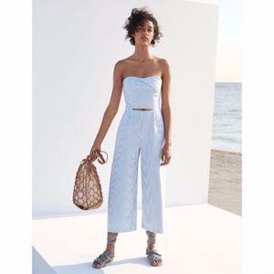 Zara Cutout Boatneck Striped Jumpsuit